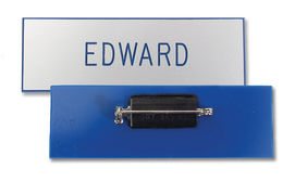 blank engraveable name tag with pin