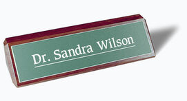engraved desk plate with wood base