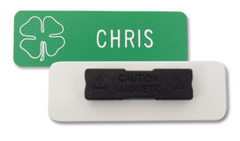 engraved name tag with magnetic attachment