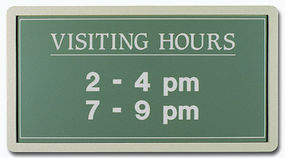 Visiting hours office sign with frame