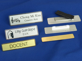 Silver and gold custom metal name tags